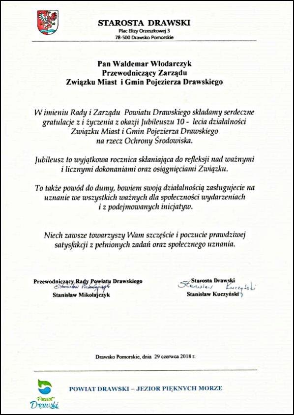 10 - lecie Związku Miast i Gmin Pojezierza Drawskiego