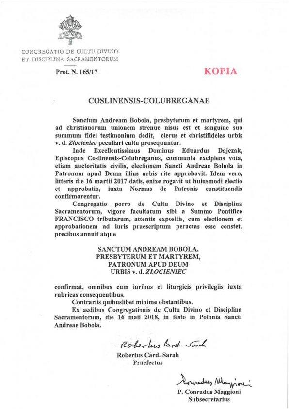 Św. Andrzej Bobola patronem Złocieńca