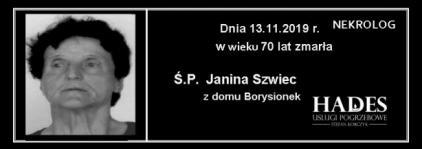 Ś.P. Janina Szwiec - z domu Borysionek