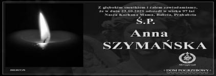 Ś.P. Anna Szymańska