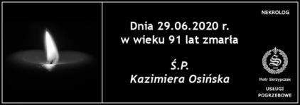Ś.P. Kazimiera Osińska